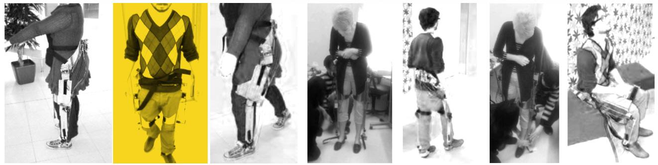 Imágenes de voluntarios usando el prototipo que dará lugar al exoesqueleto